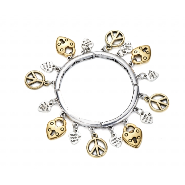 Charm bracelet with heart locks and peace sign charms